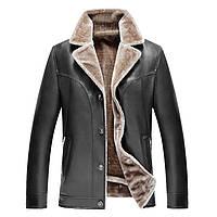 Дубленка мужская,куртка кожаная зимняя на овчине. D 2 PU.