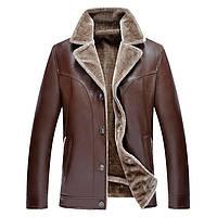 Мужская куртка кожаная зимняя на меху.Дубленка мужская.