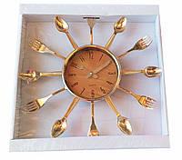 Копия Настенные часы Quartz ложки вилки (золото),(32*32см)