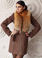 Женское кашемировое пальто на зиму средней длины Z-3 с натуральным мехом лисы FAWN LIGHT FOX, фото 1