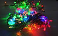 Внешняя Уличная Новогодняя Гирлянда Нить Зеленый Провод 100 LED Лампочек Мультицвет и Белый