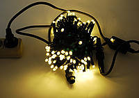 Внешняя Уличная Новогодняя Гирлянда Нить 10м 100 LED Лампочек Белый Синий Мульти Цвета Кабель 2,8
