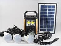 Портативный фонарик с солнечной батареей панель и 3 лампочками GD - 8131