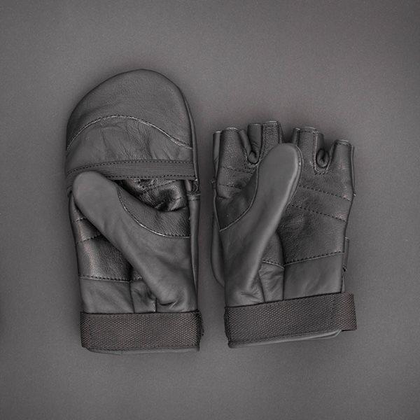 Рукавички зимові шкіряні з відкидною рукавицею