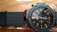 Мужские часы Hublot Geneve кварцевые черный корпус каучуковый ремешок винты крепления