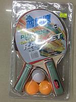 Теннис настольный T1714 50шт 2 ракетки  3 мячика, 7 мм,в слюде 2515см