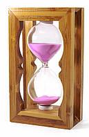 Часы песочные в бамбуке красный песок(18х8,5х5 см)