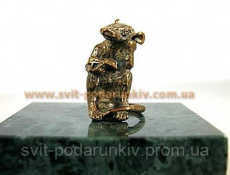 Оригинальный сувенир, бронзовая фигурка Крыса с книгой, фото 2