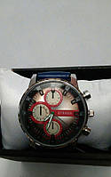 Мужские часы Curren кварцевые ремешок синий, циферблат красный с коричневым, корпус металл