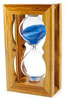Часы песочные в бамбуке синий песок(18х8,5х5 см)