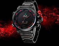 Мужские часы WEIDE Sport Watch кварцевые стальные черный корпус и ремешок красная кнопка