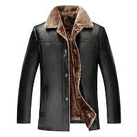 Дубленка мужская,куртка кожаная зимняя на овчине.