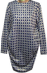 Платье женское карманы круги с напылением полу батал (деми)