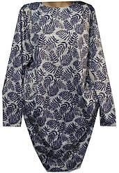 Платье женское карманы листья с напылением полу батал (деми)
