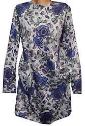 Платье женское карманы цветы с напылением полу батал (деми)