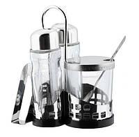 Набор для специй 4 шт Empire 9547 ( соль, перец, соус, салфетки ) из нержавеющей стали и стеклом