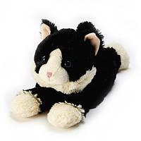 Игрушка-грелка Котенок черный, лежащий