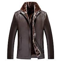 Дубленка мужская.Мужская куртка кожаная зимняя на меху.