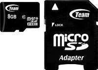 ✓Карта памяти TEAM 8 GB microSDHC+SD Adapter для цифровых устройств
