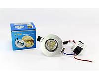 Светодиодная лампочка UKC 3W, врезная лампа, круглая, точечная, 3 светодиода 1401