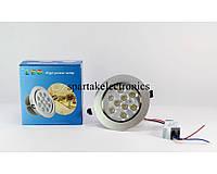 Светодиодная лампочка UKC 9W, врезная лампа, круглая, точечная, 9 светодиодов 1406