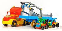 Детская Машина Грузовик Перевозчик с авто Wader Super Truck 36630, машинка перевозчик с авто Wader