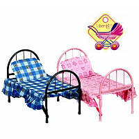 Детская игрушечная кроватка для кукол 9342, кроватка железная 9342