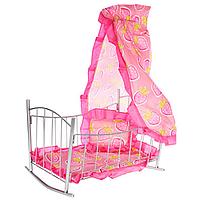 Детская игрушечная кроватка качалка для кукол 9349, металлическая кроватка с балдахином 9349