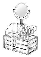 Компактный акриловый органайзер с зеркалом для хранения косметики