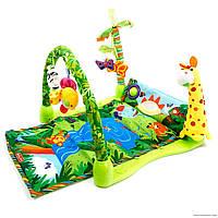 Развивающий Прямоугольный Коврик 3059 Тропический Лес для малышей, Музыкальный Коврик 3059 интерактивный