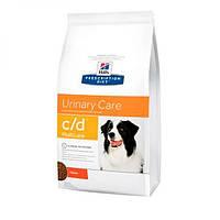 Hills PD Canine C/D, лечебный корм для собак, против образования струвитов, 12кг