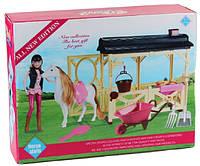 Лошадь с куклой, манеж, расческа, поилка, тачка, ведерко, в кор.37*29*11,5см  (18шт/2)(MZT8983)