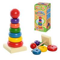 """Деревянная игрушка """"Пирамидка"""" 15*6см, 7дет, в кор. 16*7*7см (180шт)(MD0066)"""