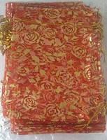 Мешочек из органзы, с цветной печатью, новогодний ресунок, 20*30см, цена за уп. в уп. 50 шт(TB2030)