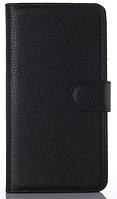 Кожаный чехол книжка для  Nokia Lumia 620 черный
