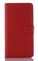 Кожаный чехол книжка для Lenovo S820 красный