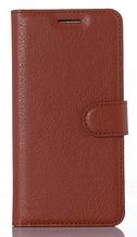 Кожаный чехол-книжка для Xiaomi Redmi 4X коричневый