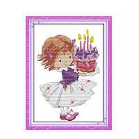 """Набор для вышивания крестиком """"День рождения"""", в пак.32*42см(K197)"""