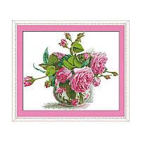 """Набор для вышивания крестиком  Цветы """"Розовая фантазия"""",в пак. 51*43см(H314)"""