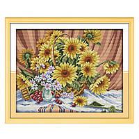 """Набор для вышивания крестиком Цветы """"Подсолнух"""", в пак. 46*38см(H321)"""