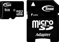 ☞Карта памяти TEAM 8 GB microSDHC+SD Adapter для планшета фотоаппарата смартфона айпада