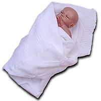 Вязаный плед в коляску и кроватку эвет (белый) Brilliant Baby