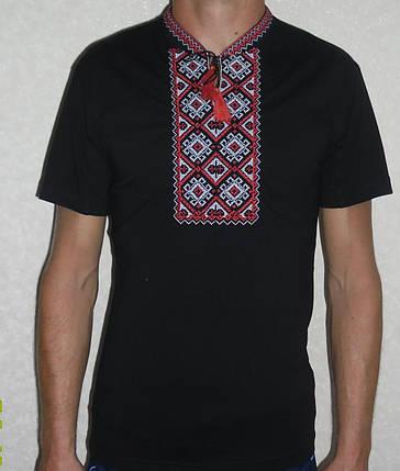 """Рубашка мужская вышитая """" Черная с красным"""", фото 2"""