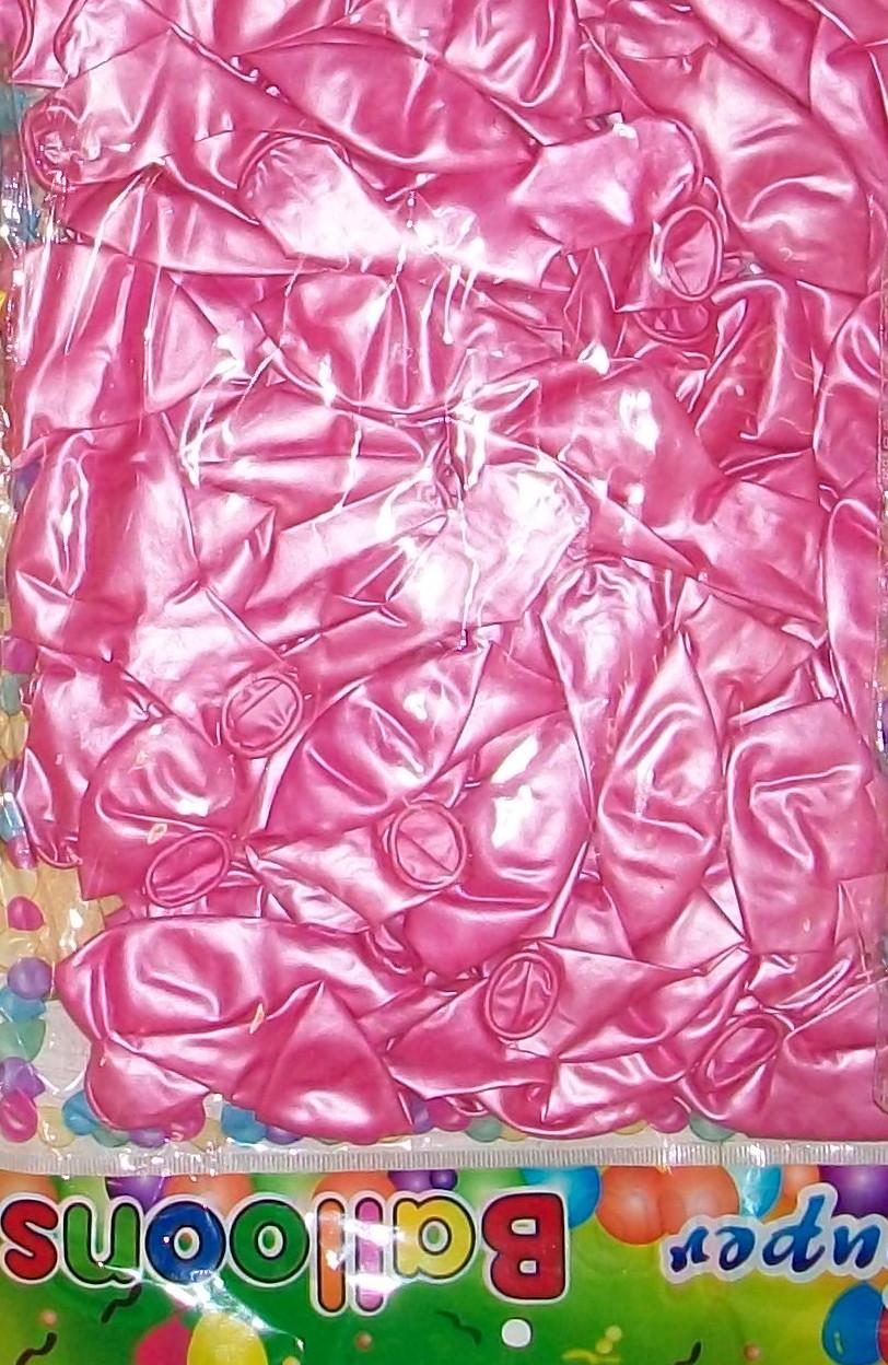 Воздушный шар металлик розовый 12″/30см