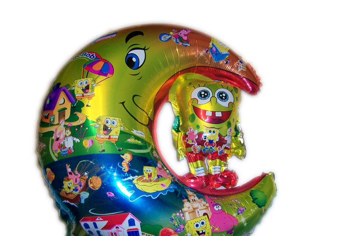"""Фольгированный шар металлик """"Спанч Боб на Луне"""" 60см"""