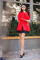Кашемировое женское пальто трапеция с двойными карманами красного цвета. Арт - 18452