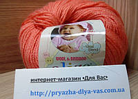 Детская пряжа (40%-шерсть, 20%-бамбук, 40%-акрил, 50 г/175 м) Alize Baby Wool 619(коралловый)
