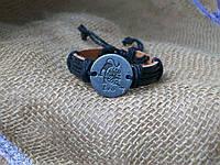 Стильный кожаный браслет знаки зодиака ЛЕВ для девушки, ручная работа