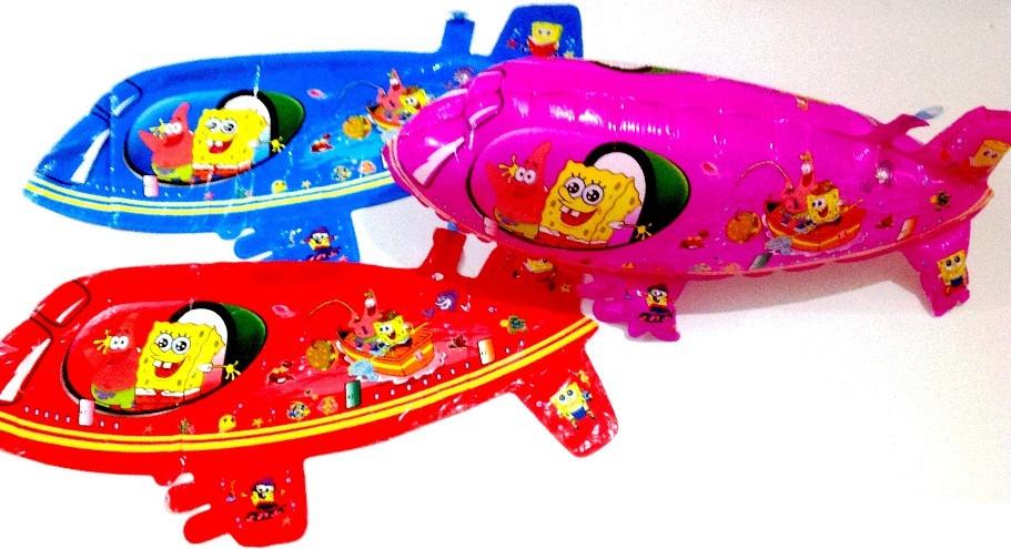 """1201-74 Фольгированный шар """"Подводная лодка 3D Спанч Боб""""(AH-314"""
