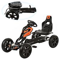 Детский спортивный картинг,на педалях,ЕВА колеса OPT-1504-2-7 (железный,педальный,ручной тормоз,колесаEVA,цепная передача,регулируется сиденье)
